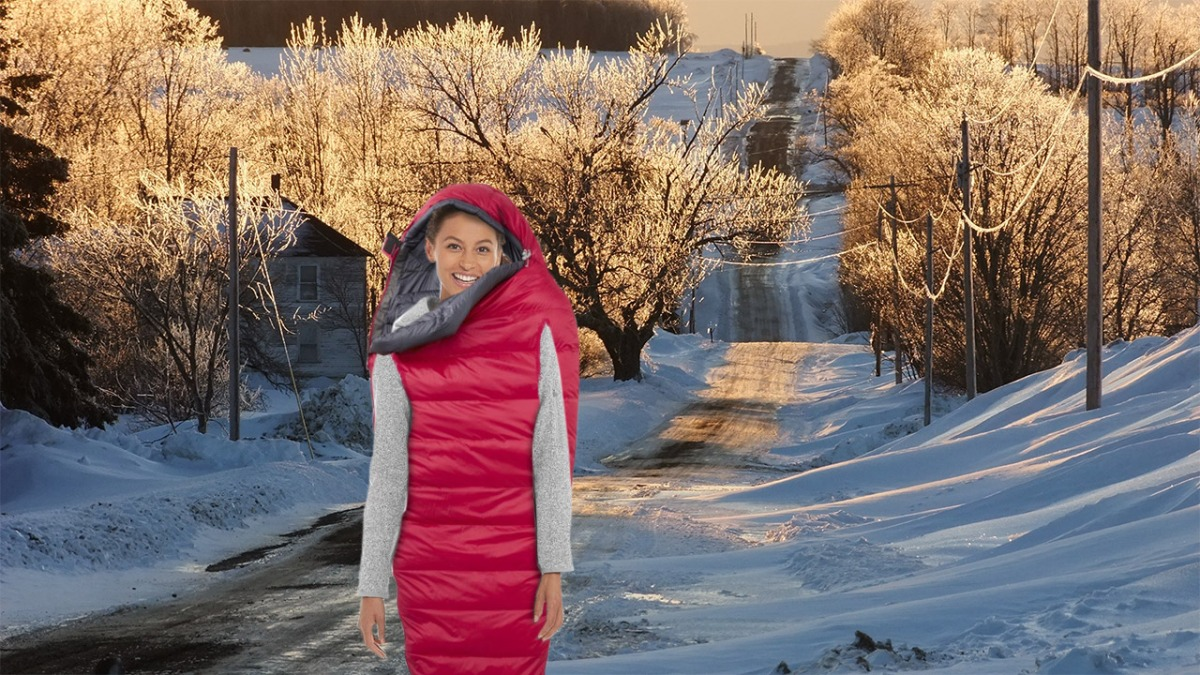 Maine's Hottest Winter Trend Is Just a Sleeping Bag With Arm and Leg Holes Cut IntoIt